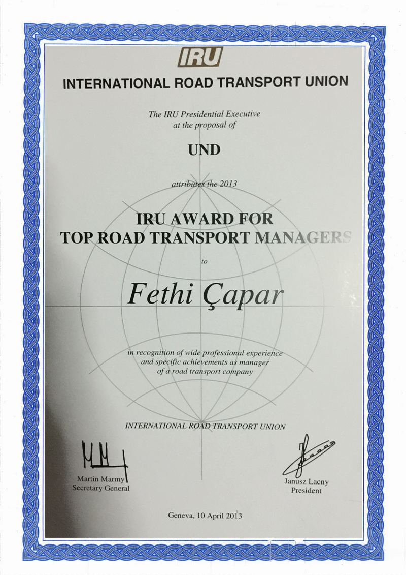 IRU Karayolu Taşımacılığı Yöneticisi Ödülü